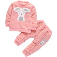 Lovely Rabbit Applique Plush Lined Pullover and Pants Set for Baby Girl