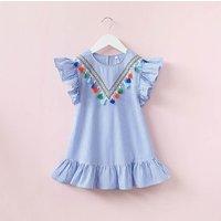 Lovely Stripes Tassel Ruffle Hem Sleeveless Dress for Toddler Girl