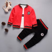 Sporty Striped Jacket, White Tee and Pants Set for Baby and Toddler Boy