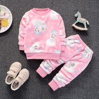 2-piece Winter Fleece Pullover and Pants Set for Toddler Girl