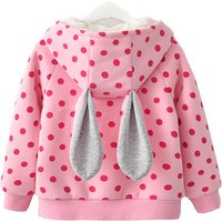 Cute Dotted Rabbit Design Strawberry Decor Coat for Baby and Toddler Girl