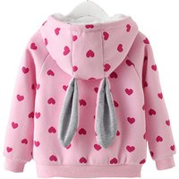 Lovely Heart Patterned Rabbit Design Hooded Jacket for Baby and Toddler Girl