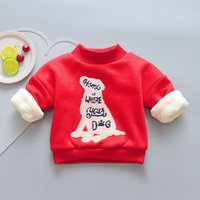 Warm Fleece-lining Dog Appliqued Long-sleeve Pullover for Toddler