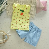 Baby / Toddler Girl Cherry Decor Ruffle-sleeve Top and Shorts Set