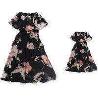 Elegant Off Shoulder Floral Dress for Mom and Me