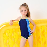 Fresh Color-blocking Backless Swimsuit for Girl