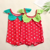 2-piece Cute Polka Dotted Sleeveless Swimsuit and Hat Set for Toddler Girl