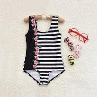 One-piece Trendy Black and White Striped Swimsuit for Girls