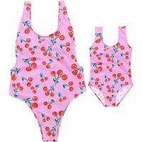 Mom and Me Sweet Cherry Pattern Matching Swimsuit