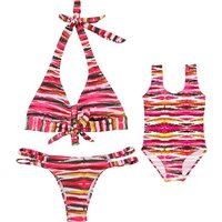 Mommy and Me Cool Colorful Striped Matching Swimsuit
