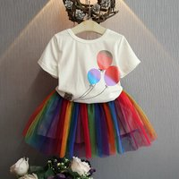 2-piece Balloon Print Short-sleeve Top and Rainbow Tutu Skirt for Baby Girl