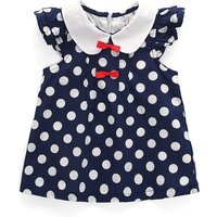 Fashionable Polka Dotted Short-sleeve Dress for Baby Girls