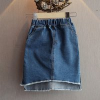 Pretty Solid Pocket Design Denim Skirt for Girl