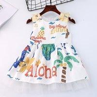 Stylish Cartoon Print Ruffled Sleeveless Dress for Baby Girl