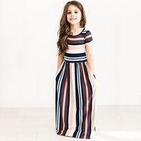 Trendy Striped Short-sleeve Longline Dress