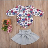 Adorable Floral Long Sleeve Bodysuit and Solid Skirt Set for Baby Girl