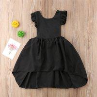 Elegant Solid Ruffle Decor Sleeveless Dress for Baby Girl