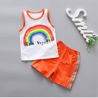 Fun Rainbow Print Tank Top and Shorts Set for Baby and Toddler Boy