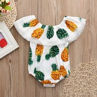Cute Pineapple Off-shoulder Ruffled Bodysuit in White for Baby Gril