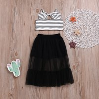 Toddler Girl's Chic Striped Top and Mesh Skirt Set