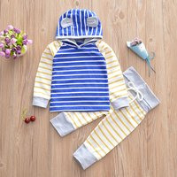 Trendy Striped Color Blocked Hooded Top and Pants Set for Baby