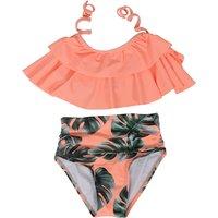 Sweet Leaf Print Bikini in Orange for Baby and Toddler Girl