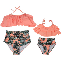 Leaves Print Ruffled Halter 2-piece Bikini Set for Mom and Me