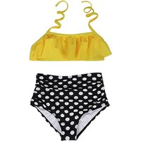 Stylish Dotted Halter Swim Top and Bottom Set in Apricot for Toddler Girl and Girl