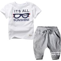 2-piece Cool Short-sleeve Letter Tee and Solid PP Pants for Boys