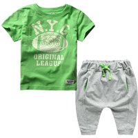 Casual Letter Print Short-sleeve T-shirt and Shorts Set for Toddler Boy and Boy