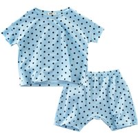 2-piece Casual Polka Dotted Short Sleeves Top and Shorts for Girls