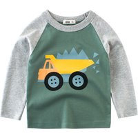 Stylish Truck Print Color Blocking Long-sleeve T-shirt for Boy