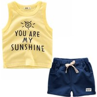 Casual Letter Print Tank Top and Shorts Set for Baby Boy and Boy