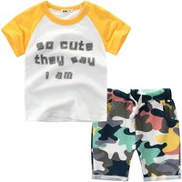 Trendy Color Blocking Letter Print Tee and Camouflage Shorts Set for Boy