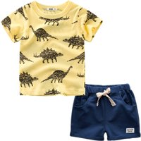 Fashion Toddler Boy's Dinosaur Print Short-sleeve Tee and Shorts Set