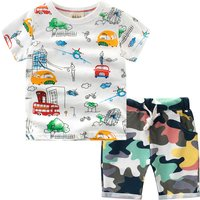 Fun Vehicle Pattern Tee and Camouflage Shorts Set for Toddler Boy and Boy