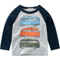 Comfy Bus Print Long Sleeves Top for Toddler Boy and Boy