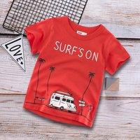 Adorable Car Letter Print Short-sleeve Tee