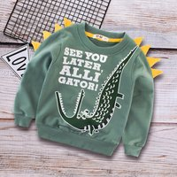 Stylish Crocodile and Letter Pattern 3D Decor Pullover