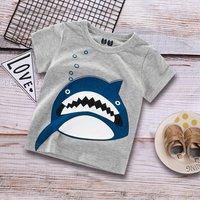 Funny Cartoon Shark Short-sleeve Tee