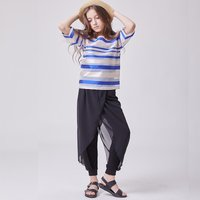 2-piece Pretty Striped Short-sleeve Tee and Pants Set for Girl