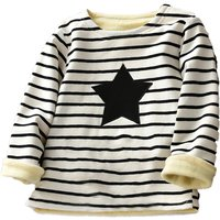 Comfy Star Applique Stripes Long Sleeves Pullover for Girls