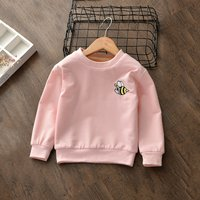 Cute Bee Embroidery Long-sleeve Sweashirt for Baby Girl