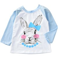 Cute Rabbit Print Long Sleeves Top for Girls
