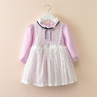 Elegant Lace Detail Long-sleeve Princess Dress for Girls