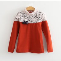 Pretty Lace Bow Decor Long-sleeve T-shirt for Girl