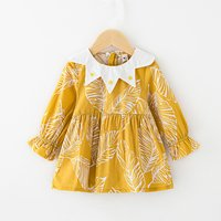 Pretty Leaves Pattern Long Sleeves Dress for Toddler Girls