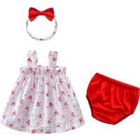 3-piece Floral Strap Dress Red Shorts and Bow Headband for Baby Girl