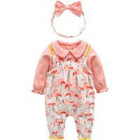 Lovely Doll Collar Top, Flamingo Patterned Strap Pants and Headband Set for Baby Girl