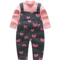 Cute Mock Neck Top and Cat Print Overalls Set for Baby Girl
